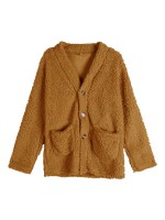 Fantastic Coffee Color Pockets Coat Large Size Plush Holiday