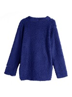 Dynamic Dark Blue Large Size Solid Color Plush Coat Modern Fashion