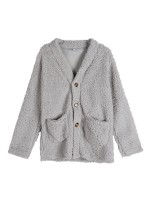 Lovely Light Gray Coat Queen Size Long Sleeve Leisure