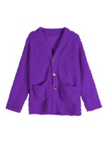Purple Full Sleeve Plus Size Pockets Coat Casual Women Clothes Online