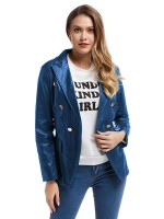 Modest Blue Turndown Neck PU Jacket Fake Pocket Streetstyle