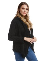 Astonishing Black Front Open Long-Sleeved Plush Jacket Female Elegance