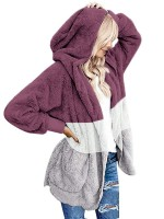 Wonderful Purple Thigh Length Patchwork Coat Pockets Female Charm
