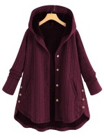 Sunshine Wine Red Large Size Coat Hooded Neck For Hanging Out