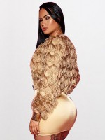 Consummate Light Brown Plush Zipper Short Jacket Long Sleeve Soft-Touch