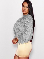 Outstanding Gray Crop Zipper Coat Plush Full Sleeves Stretchy