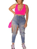 Light Blue High Rise Full Length Ripped Jeans Womens Latest Clothes