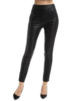 Classy Black High Rise Leather Pants Full Length For Street Snap
