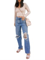 Amazing Blue Ripped Jeans Straight Leg Pockets Fast Shipping