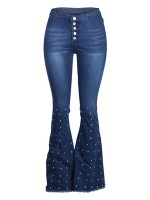 Fantastic Blue Rhinestone Jeans High Waist Buttons Comfort Women