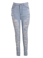 Vibrant Light Blue Destroyed Jeans High Rise Tight Feet