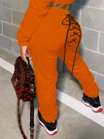Orange Pants High Rise Solid Color Lace-Up Supper Fashion