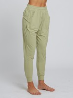 Plain Light Green Solid Color Running Pants High Rise Fashion For Women