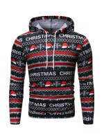 Excellent Christmas Cap Print Hoodie Plus Size Confidence
