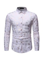 Online White Lapel Neck Men Long Sleeves Shirt Feminine