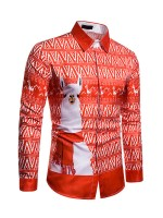 National Christmas Alpaca Printed Men Shirt For Traveling