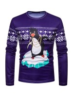 Exquisite Round Neck Penguin Print Christmas Top Quick Drying