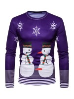Super Sexy Male Blouse Snowmen Print Stripe Hem Natural Fit