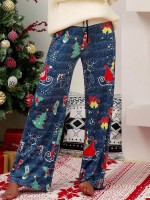 Natural Blue Christmas Printed Wide Leg Pants Breath