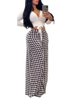 National White Palazzo Pants High Rise Full Length Casual Fashion