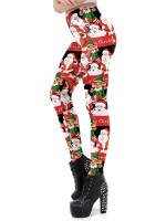 Eye Catching Santa Claus Pattern Leggings Xmas High Elasticity