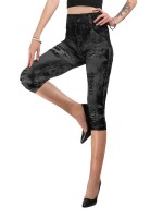 Ingenious Deep Gray Large Size 3/4 Demin Printing Leggings Breath