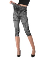 Characteristic Light Gray Cropped Demin Print Leggings Queen Size Outdoor