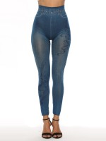 Sultry Fake Jeans Printed Leggings High Waist For Running