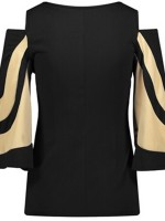 Gracious Black Bell Sleeves Cold Shoulder Shirt For Running