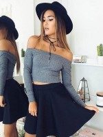 Cozy Gray Plain Shirt Off Shoulder Full Sleeve Online Wholesale