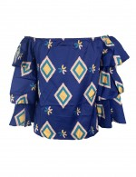 Blue Tiered Sleeve Retro Print Off Shoulder Shirt Glamorous Look