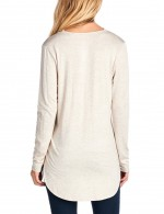 Special Khaki Knit Shirt Full Sleeve Curved Hem Letter Wholesale