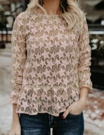 Apricot Bell Sleeve Lace Star Detail Crew Neck Shirt Splendid Look