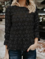 Stunning Black Sheer Lace Shirt Flared Sleeve Star Design Soft-Touch