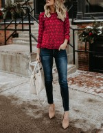 Glorious  Red Lace Star Pattern Bell Sleeve Shirt Feminine Charm
