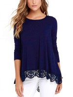 Royal Blue Solid Color Lace Hem Shirt Crew Neck Feminine Confidence