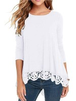 Outstanding White Lace Hem Long Sleeve Shirt Crew Neck Woman