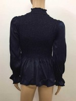 Dark Blue Pleated High Collar Shirt Full Sleeve Fashion Essential
