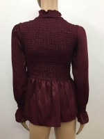 Sultry Wine Red Long Sleeve Stringy Selvadge Shirt Womens Trendy