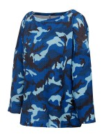 Nautically Blue Baggy Shirt Camouflage Print Round Neck Loose Fit