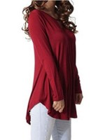 Amazing Red Curved Hem Full Sleeve Plain Top For Party