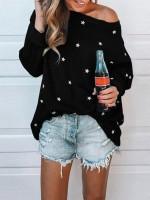 Eye-Catching Black Crew Neck Star Pattern Loose Shirt Form Fit