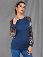 Dark Blue Patchwork Shirt Long Sleeve Round Collar Elastic Material
