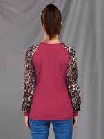 Shimmer Rose Red Shirt Big Size Full Sleeve Leopard Paint Amazing Look
