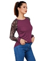 National Style Fuchsia Crew Neck Leopard Shirt Queen Size All-Match Style