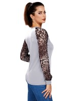 Poolside White Leopard Print Shirt Big Size Crew Neck For Camping