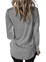 Sweetheart Light Gray Long Sleeve V-Neck Curved Hem Shirt Fashion