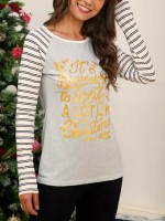 Sleek Gray Long Sleeve Stripe Print T-Shirt Chic Trend