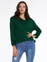 Retro Green High Neck Solid Color Sweater Fashion Insider