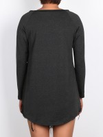Dramatic Black Big Size Shirt Round Collar Home Clothes